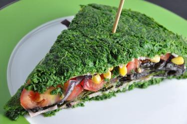 Nízkokalorický špenátový sendvič bez mouky