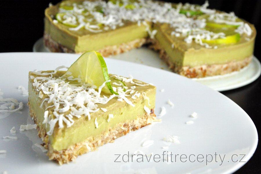 Raw limetkovo-avokádový dort