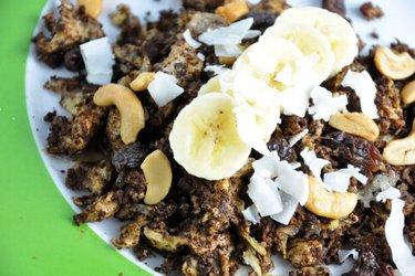 Fit banánovo-kakaová míchaná vajíčka